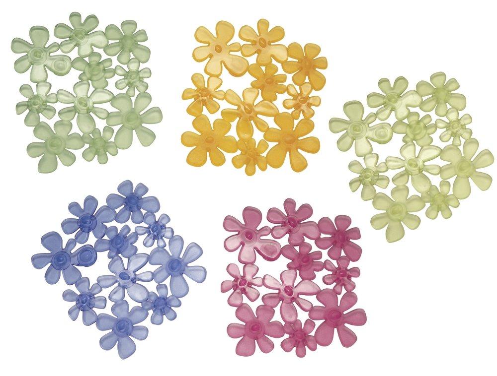 mDesign Alfombrillas de baño transparentes – Alfombras de baño antideslizantes con diseño de flores – Alfombra para bañera con ventosas – 6 unidades – Varios colores