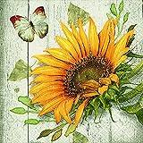 20 Serviette Sonnenblume Blume Vintage 33x33 cm