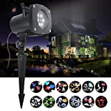 LED Projector Light ANTISR Waterproof Garden Lamp Sparkling Landscape 12 Pattern Gobos for Lighting on Yard,Halloween,Xmas,Party etc Outdoor Indoor Decoration