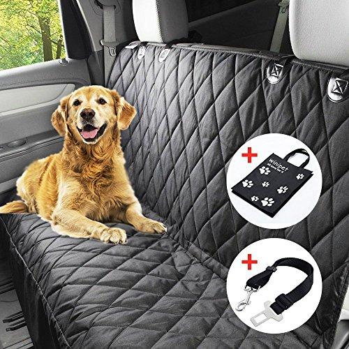 Wasserfest Autoschondecke, X-Große 152x147cm Hundedecke Auto Rückbank , Hochwertiges Anti-Rutsch Schondecke Hund Auto mit Einem Kostenlosen Sicherheitsgurt und Tragetasche für Autos Trucks Van und SUV