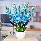 LCoran Orchidee Künstliche Blume Set Keramik Blumentopf Blau Vervollkommnen Sie dekorativ für Schlafzimmersalon-Hotelschreibtisch