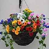 Artificial Flowers Hanging Planter Out Door, Mixed wild Flowers, Flowers , Basket and Bark