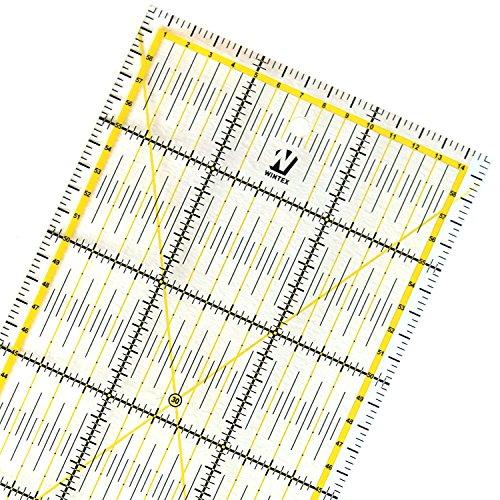 WINTEX Universal-Lineal 15 cm x 60 cm, transparent - Rollschneider-Lineal, Patchwork-Lineal, Bastel-Lineal - ideal zum Nähen und Basteln -