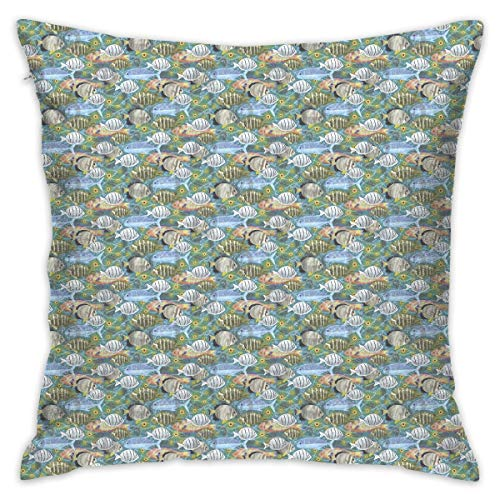 Throw Pillow Cases Tropical Fish of Hawaii On Teal Blue Cushion Cover Soft Home Sofa Decorative 18x18 Pillowcase (Set of 2) for Home, Office Chair, Car, Bar