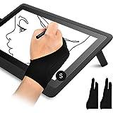 OTraki 2 PCS Guanti Disegno Tablet Palma Rejection Guanto Antivegetativa per Disegnatori Artistico Antifrizione Guanti 2 Dita