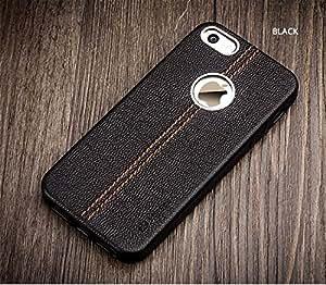 SGC (TM) Vorson ® Apple iPhone 5/5S/SE LEXZA Series Double Stitch Leather Shell Back Cover Case - Black