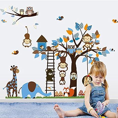 Jessie&Letty adesivi murali della parete decalcomania albero animale zoo giungla gufo giraffa muro scimmia decalcomania di arte per la scuola materna camera dei bambini (ZY1215) - Giraffe Scimmia