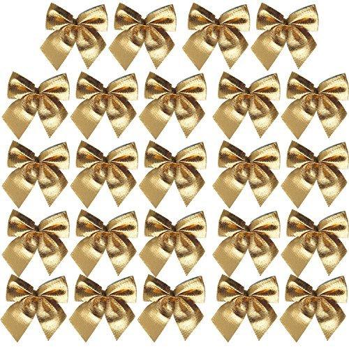 24 Stk. Band Schleifen Verzierungen Weihnachtsbaumdekoration - Gold