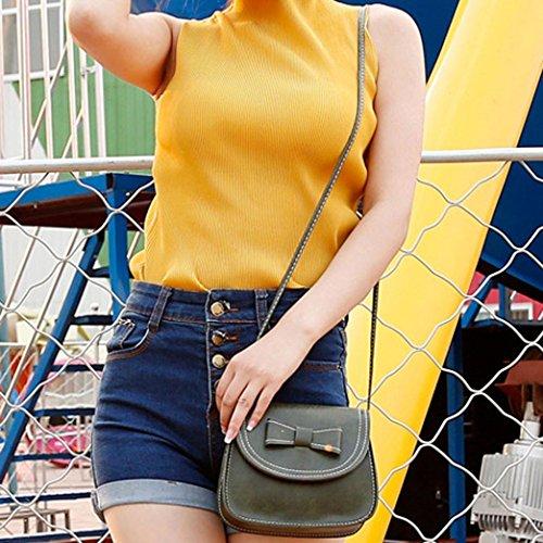 Saingace Art- und Weisefrauen Bowknot-Leder-Handtaschen-einzelner Schulter-Kurier-Telefon-Beutel Schultertasche Grün