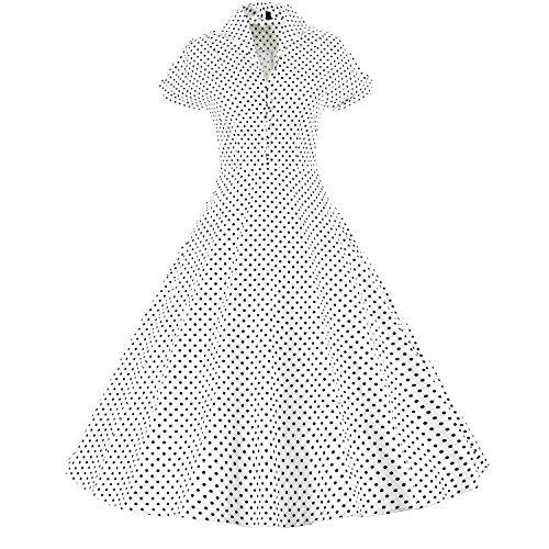 LUOUSE Damen 1950er Vintage Solid Color Plissiert Swing Kleid V074-White