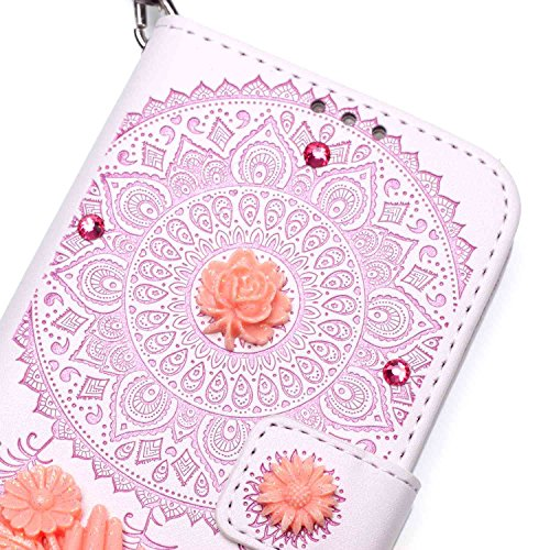 iPhone 7 Plus Hülle,iPhone 7 Plus Case,Cozy Hut ® Ultra Slim Flip Lederhülle / Ledertasche / Hülle / Case / Cover / Etui / Tasche für iPhone 7 Plus / 3D Diamant Strass Bling Glitzer Schmetterlings-Blu Pink und weiß Campanula
