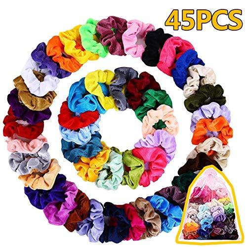 45 pezzi capelli fasce velluto, elastico in velvet scrunchies, colorato forte tenere bobble capelli elastici fascia per le donne ragazze accessori, 45 colori