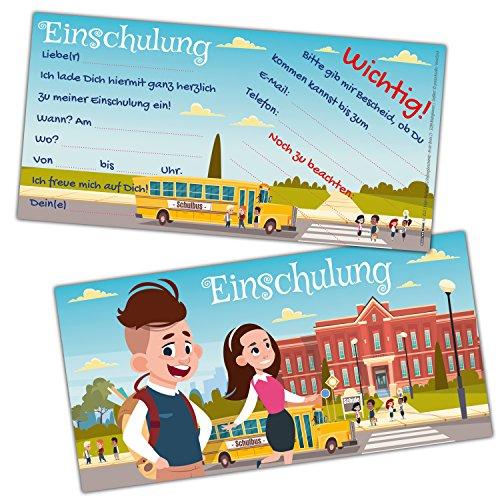EINSCHULUNG Karten-Set XL (24 Stück) Coole Einladungen im angesagten Comic-Style zum Schulanfang Schulbeginn Schuleingang für Kinder von BREITENWERK®