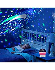 Saiyam Rotating Star Night Light Projector Lamp with 4 LED Bulbs 9 Color Changing Modes with USB Cable (Multicolour)