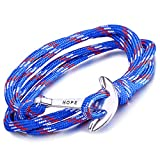 Infinite U Bracelet tressé multi-rangs multicolore 'Hope' l'ancre de navire en Alliage et Nylon corde de coton la couleur de bleu pour femme homme
