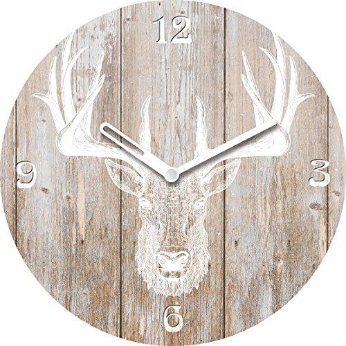Eurographics Wanduhr aus Glas, rund, mit Tischaufsteller, Deer Head on Wood, Hirschkopf auf Holzoptik, 20x20 cm