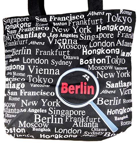 Accessoires Städte Shopper Tasche schwarz 40 cm London Berlin New York Hongkong Deko GCG D19