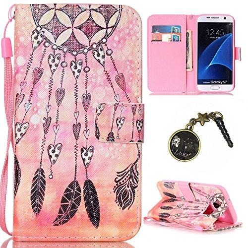für Smartphone Samsung Galaxy S7 Hülle,Echt Leder Tasche für Samsung Galaxy S7 Flip Cover Handyhülle Bookstyle mit Magnet Kartenfächer Standfunktion + Staubstecker (5II)