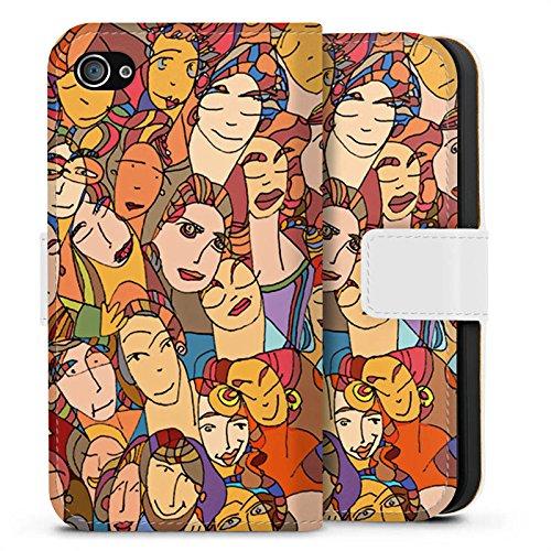 Apple iPhone X Silikon Hülle Case Schutzhülle Gesichter Augen Geschichten Sideflip Tasche weiß