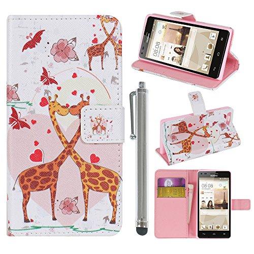 Hunye PU Ledertasche im Bookstyle Schutzhülle für Huawei Ascend P7 Mini Tasche Etui Cover Giraffen Herz Muster Flip Case Schale mit Stylus silber