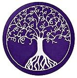 'maylow–Cojín con corazón ® Yoga Yoga–Cojín de meditación con bordado deÁrbol de la Vida funda y relleno 100% algodón con relleno de espelta (púrpura de color blanco, 15)
