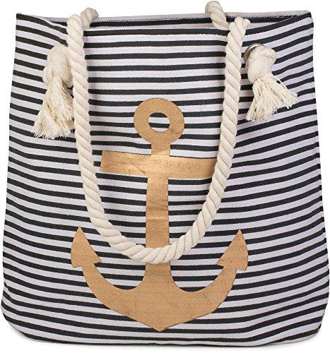 styleBREAKER Strandtasche in Streifen Optik mit Anker, Schultertasche, Shopper, Damen 02012038, Farbe:Schwarz-Weiß / Gold (Bag Kompass Tote Schwarz)