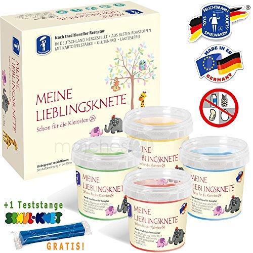 Feuchtmann MEINE LIEBLINGSKNETE Kinder Soft Knete Knetmasse für Kleinkinder 4x150gr. Grundfarben erstklassige Qualität