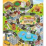 VANTIYAUS Kinderteppich für Spielzeugautos, 68,6 x 80 cm, ideal zum Spielen mit Autos und Spielzeug, Jungen und Mädchen für den Straßenverkehr, Spielmatte – Lernen und haben Sie sicher Spaß
