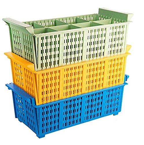 Geschirrspülkorb BESTECK aus Polypropylen, stapelbar, robuste Griffe, hitzeresistent bis +120°C, in grün, gelb oder blau / 43 x 21 x 15 cm | ERK (grün)