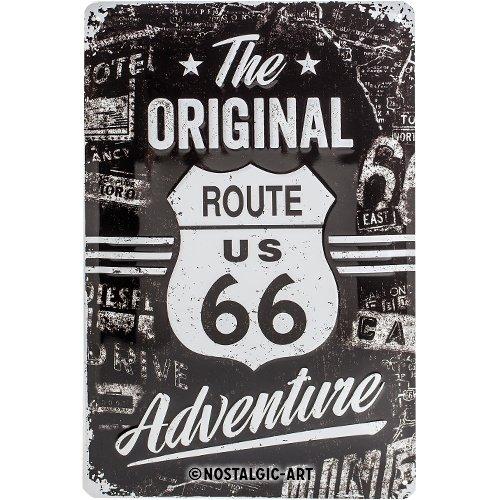 Nostalgic-Art 22224 - Highway  66 The Original Adventure | Retro Blechschild | Vintage-Schild | Wand-Dekoration | Metall | 20x30 cm