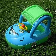Flotador de Juguete Inflable para Bebé - WISHTIME Flotador para bebé con asiento,,techo
