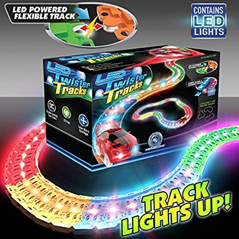 Mindscope LED Laser Twister Tracks 12 Feet of Light Up Flexible Track + 1 Light Up Race Car Each Individual Track Piece Contains Lights (Standard Color
