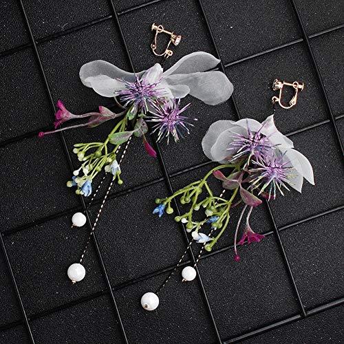 AIMERKUP Braut Ohrringe Clip-on Baumeln Künstliche Blume Quaste Lange Eardrop Hochzeit Schmuck Kleid Zubehör Für Party Bankett Abschlussfeier (Helix Leder Jacke)