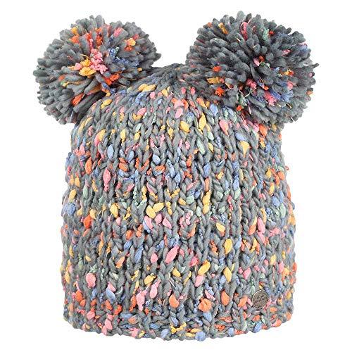 Nordbron 7164C077 Espo Beanie Mütze Mädchen Kinder warme, mehrfarbige, handgefertige, Bommelmütze mit Zwei Bommel, mit Fleece-Einsatz,Trooper