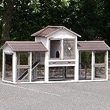 Animalhouseshop.de Winterfester Kaninchenstall Prestige Small White Doppel Mit Isolierset und Nagerschutz - White 237x72x122cm