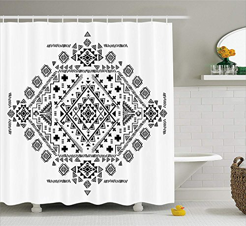 JIEKEIO Mexican Decorations Shower Curtain, Ancient Maya with Prehistoric Geometric Form Triangles and Lines Print, Fabric Bathroom Decor Set with Hooks,60 * 72inch, Black White - 48 Triangle Form