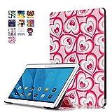DETUOSI Funda Huawei M2 10 Cuero,PU Cuero Piel Smart Case Flip Cover Carcasa para Tablet Huawei MediaPad M2 10.0 Funda de Cuero con Función Soporte,Corazón de Amor