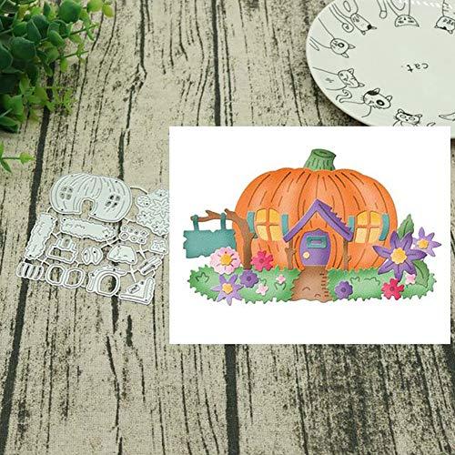 FEIDAjdzf Halloween Kürbis Haus Stanzschablonen DIY Scrapbooking Dekor Prägung Schablonen – Silber