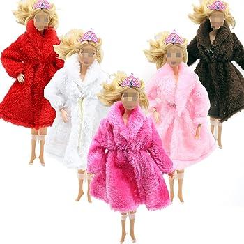 Lance Home® 5 pz Cappotto in peluche Abito + 10 paia Scarpe Fatto a mano  Moda Cappotto invernale d autunno Abito da Sposa e Vestiti per Barbie  Bambola ... b2a53654055