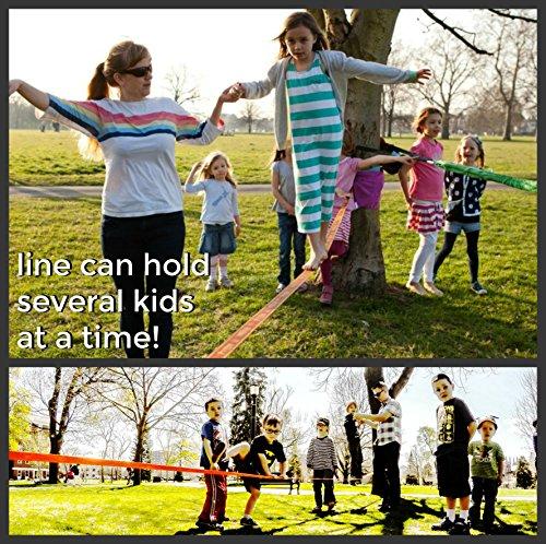 Trailblaze Slackline Kinder mit Hilfsseil + Baumschutz - Vollständiges Slackline-Set 15m für Anfänger – Ideale Aktivität für Kinder und Familien im Freien - Einfach Aufzubauen Balancierseil - 9