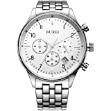 BUREI Men Chronograph Watches with Day Date Analog Dial Genuine Leather Strap & Stainless Steel Watch Band