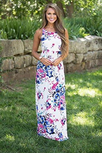 Maxi Kleid, DINGANG Frauen Böhmen Elegantes Sleeveless Partei-Abend-Kleid mit Blumendruck-Größe S-XL Mehrfarbig