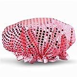 OrangePlan Frauen wasserdicht Duschhaube, einzigartiger Brilliant Pailletten Design Double Layer-Bad-Kappe Elastic Band Spa Dusche Hat (Pink)