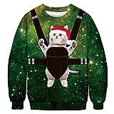 Elecenty Herren Weihnachten Langarmshirt 3D Druck Pulli Rundhals Tops Weihnachtspulli Männer Sweatshirt Xmas Grafik Jumper