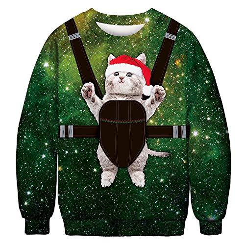 FRAUIT Weihnachten Pullover Jumper, Herren Damen Unisex Lustige Sweatshirts hässliche Pullover 3D Cat Printed Xmas Grafik Santa Long Sleeve Shirt M-2XL