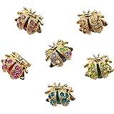 FANDE 6 Pcs Conjunto de Broches para Mujer, Broche de Mariquita, Broche de Cristal En Forma de Animal, para Regalos De Cumple
