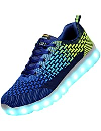 Odema Hombre 7 Colors USB Carga LED Luz Luminosas Flash Zapatos Zapatillas
