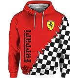 Cronell Story Felpa con Cappuccio Manica Lunga Unisex 3D Digital International Ferrari Logo Print Sweatshirt Felpa Casual