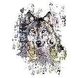 Color Bügeltransfers, 23,5 x 34 cm, filigran ohne Hintergund | Textilien wie T-Shirts & Taschen mit Bügelmotiven verzieren | Bilder schnell & einfach aufbügeln | DIY Textildesign (Wolf)