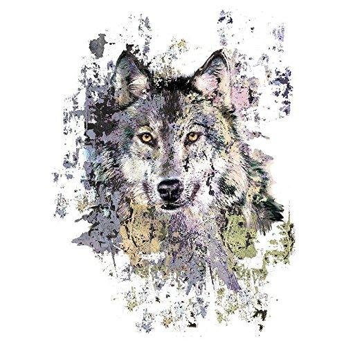 Color Bügeltransfer, 23,5cm x 34cm, filigran ohne Hintergund, Wolf   Textilien wie T-Shirts & Taschen mit Bügelmotiven verzieren   Bilder schnell & einfach aufbügeln   DIY Textildesign